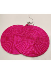 Finnkibu-Raffia Earrings-bright pink