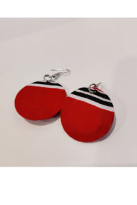 Finnkibu-small fabric earrings - red and white and black