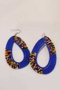 Masai bead earrings-purple-blue